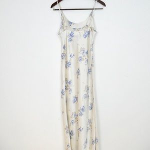 Vintage Dresses - RESERVED VTG Long White Floral Satin Slip Dress S